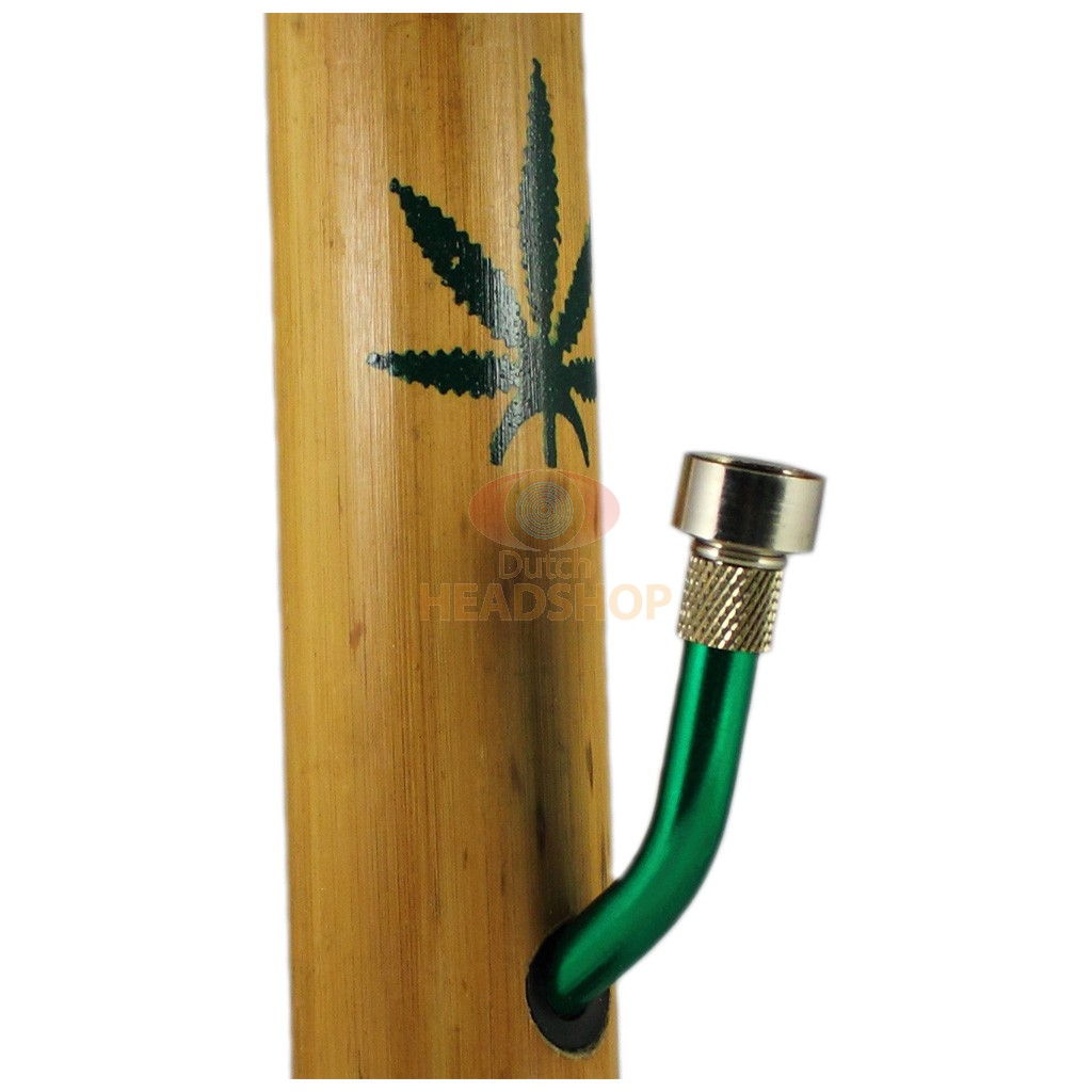 Bamboo Bong with Cannabis Leaf