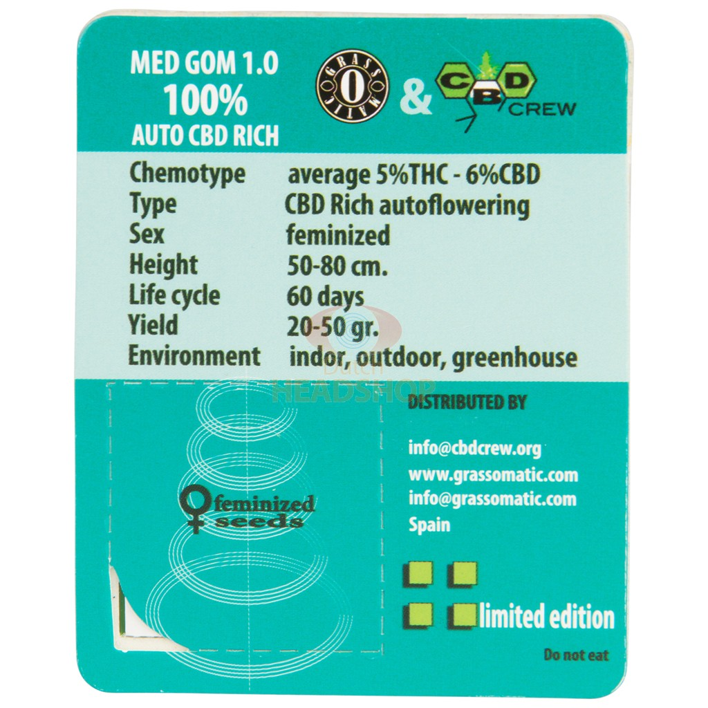MED GOM 1.0 Autoflower (Grass O Matic / CBD Crew) 3 seeds