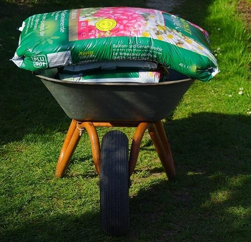 soil in a wheelbarrow
